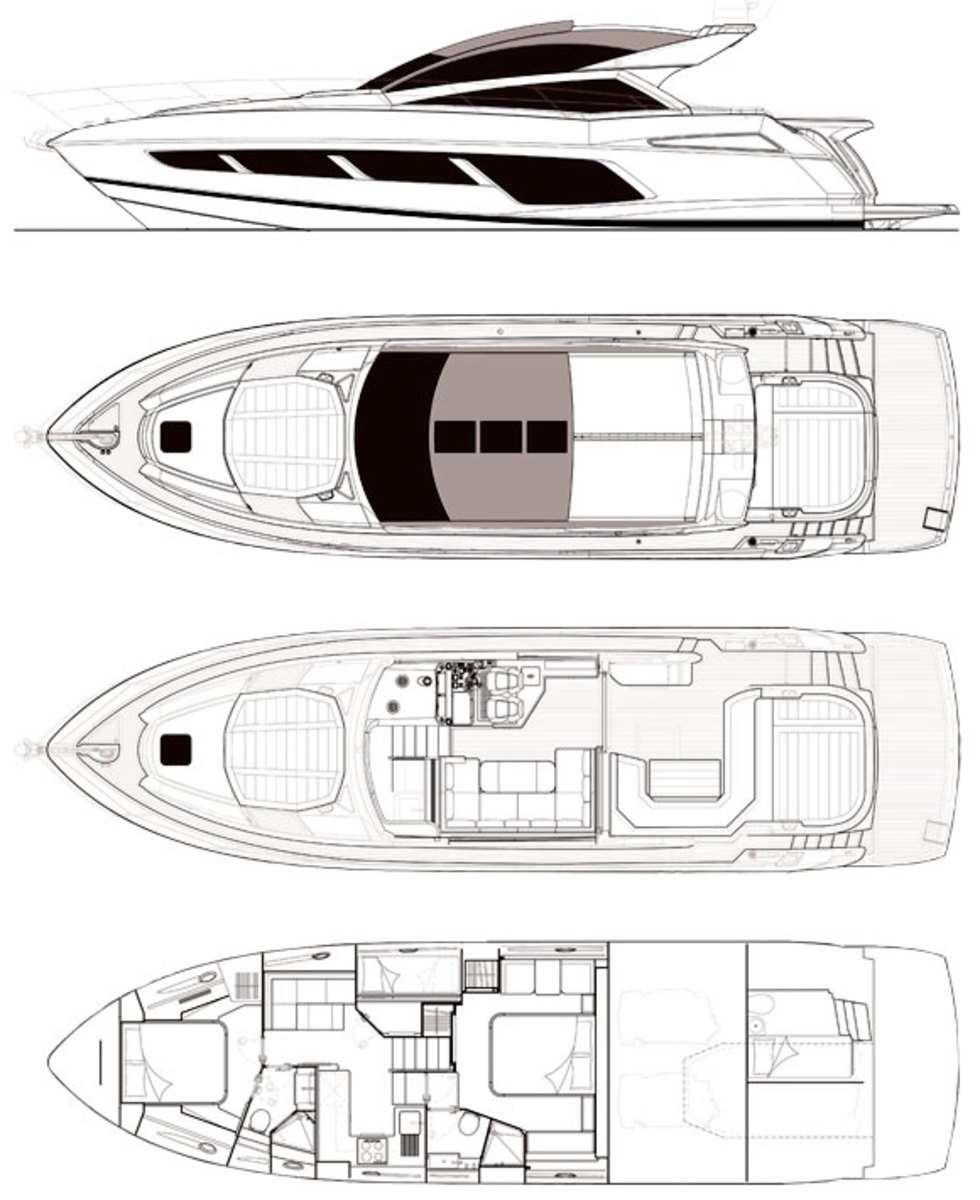Sunseeker Predator 57 layout diagram