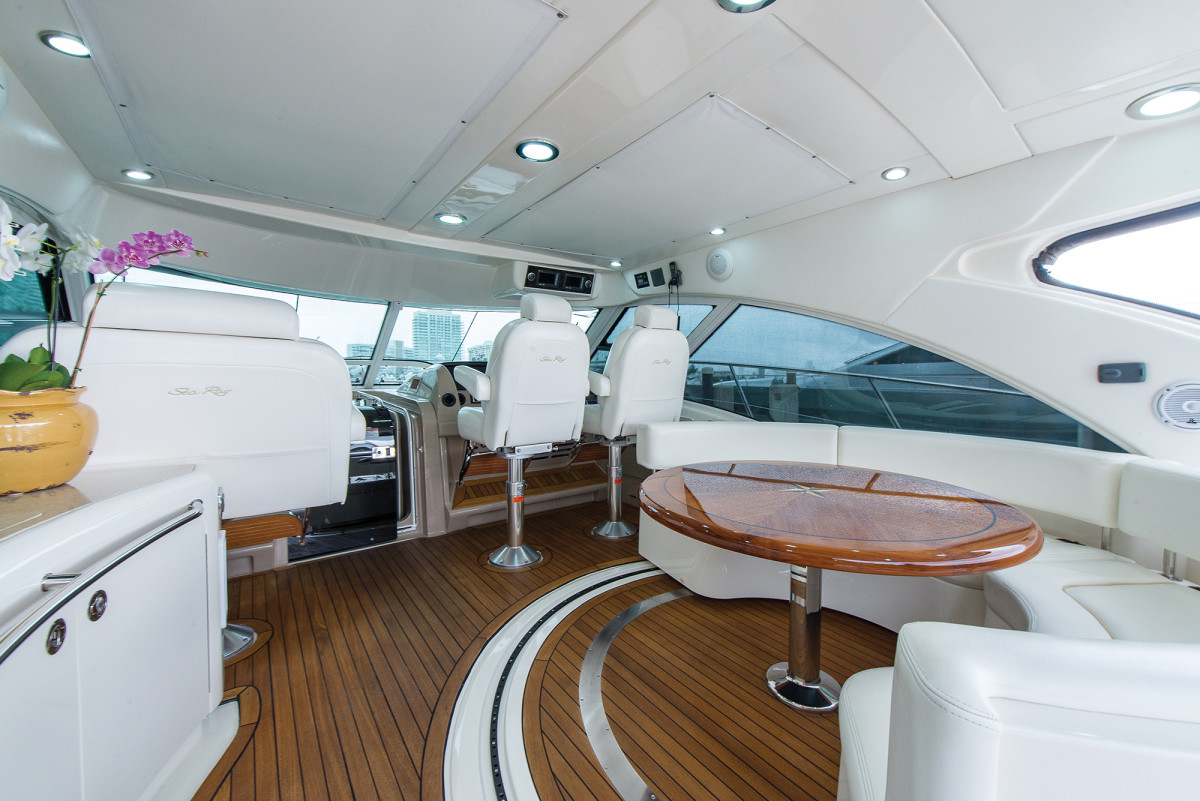 A rotating settee on the bridgedeck is a design gaining momentum in boats today.