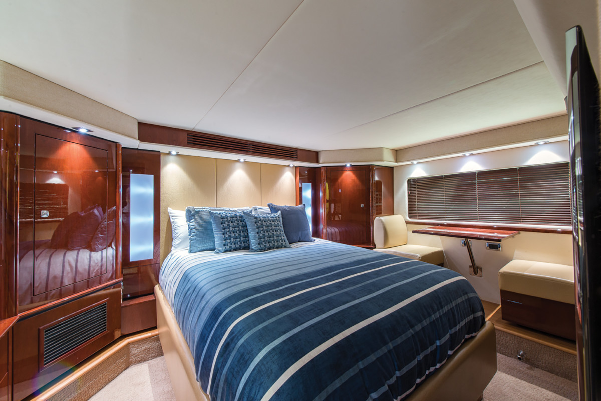 In the master stateroom, there's a queen-size berth and a private sitting area with a nice view.
