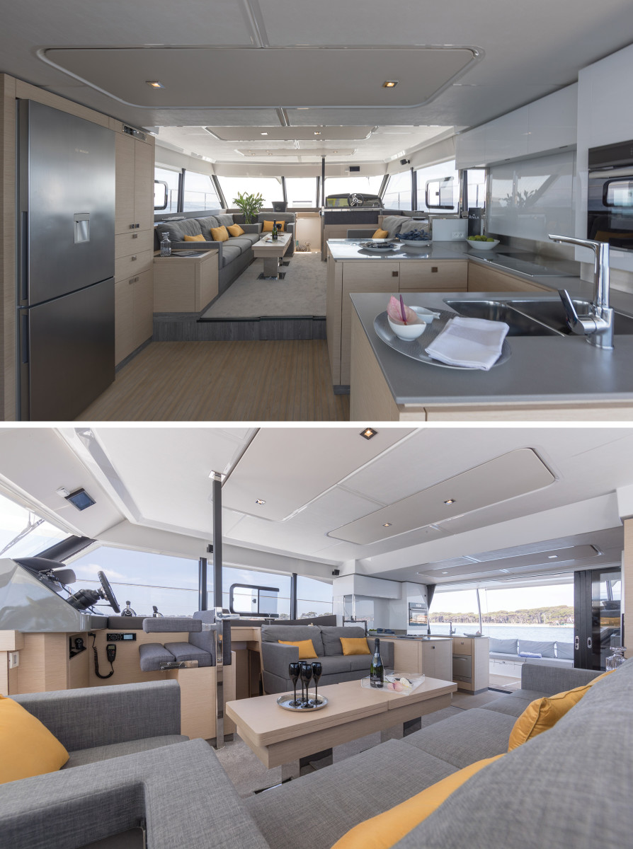 Fountaine Pajot tapped Italian architect Pierangelo Andreani to give the salon a bright, luxurious feel.