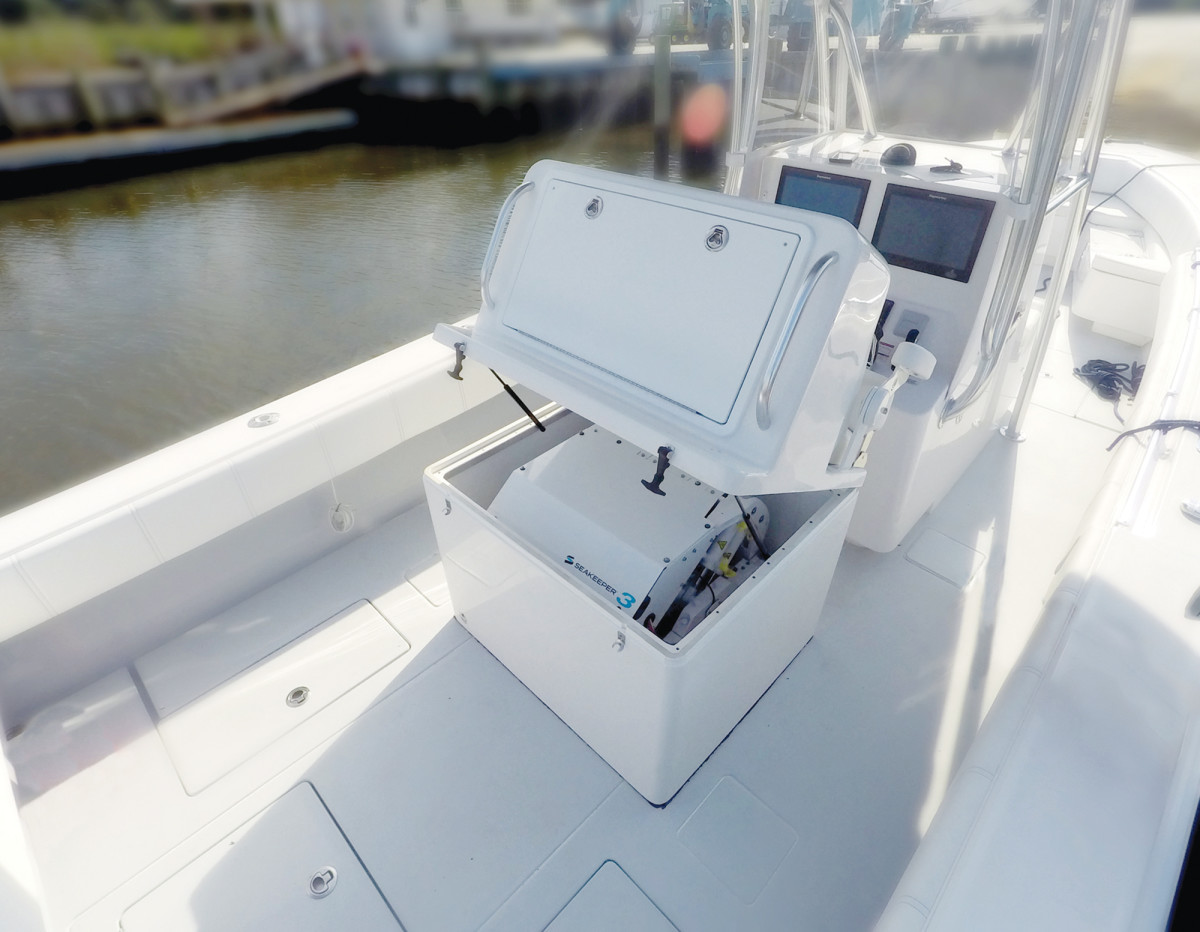 The Seakeeper 3 mounts on deck in a leaning post.