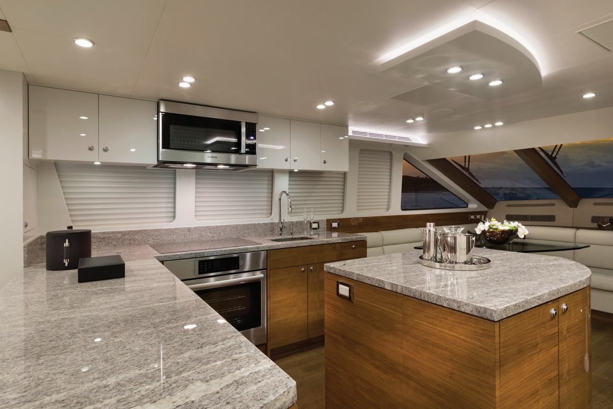 The island in the middle of the galley is ideal for staging meals.