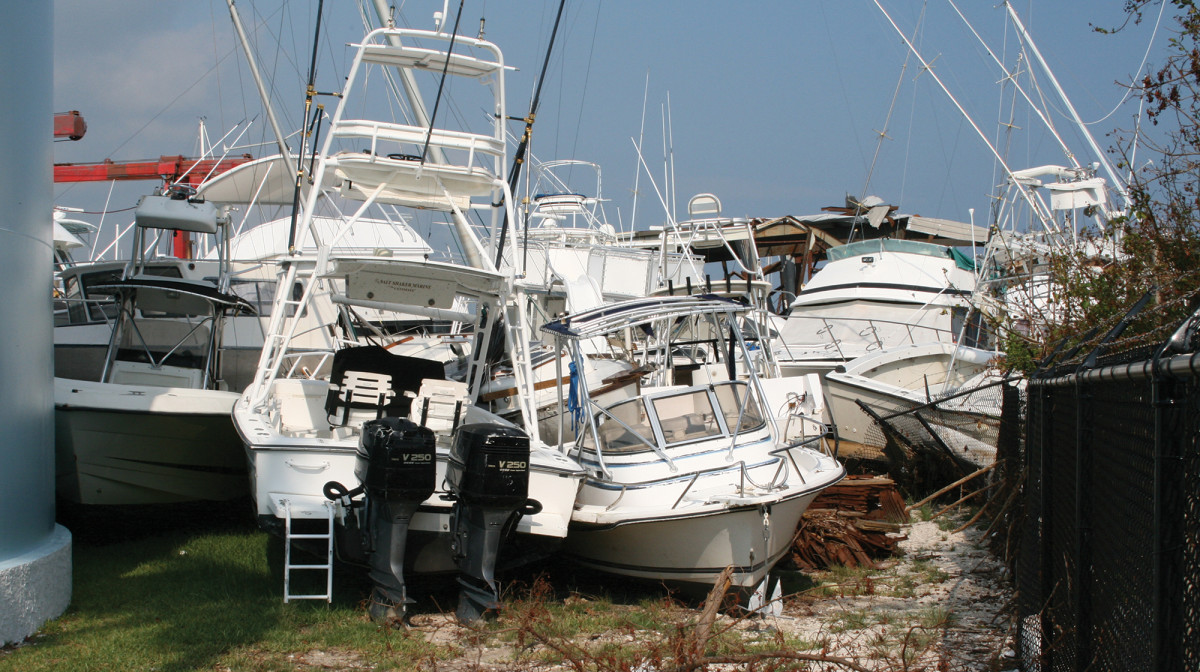 Hurricane-damaged boats