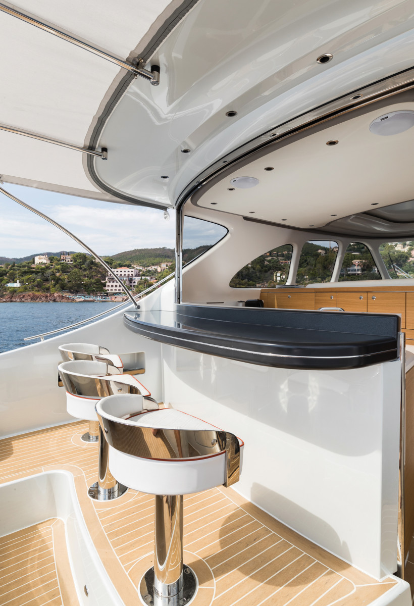 The Z55 throws a few superyacht-worthy curves, including the folding glass window aft.