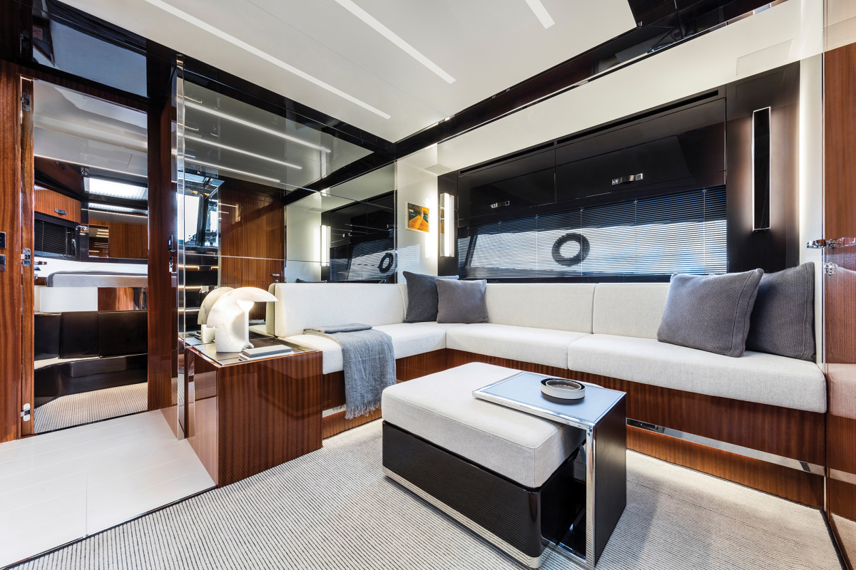 The salon makes full use of the 56's nearly 16-foot beam and the styling is classic Riva.