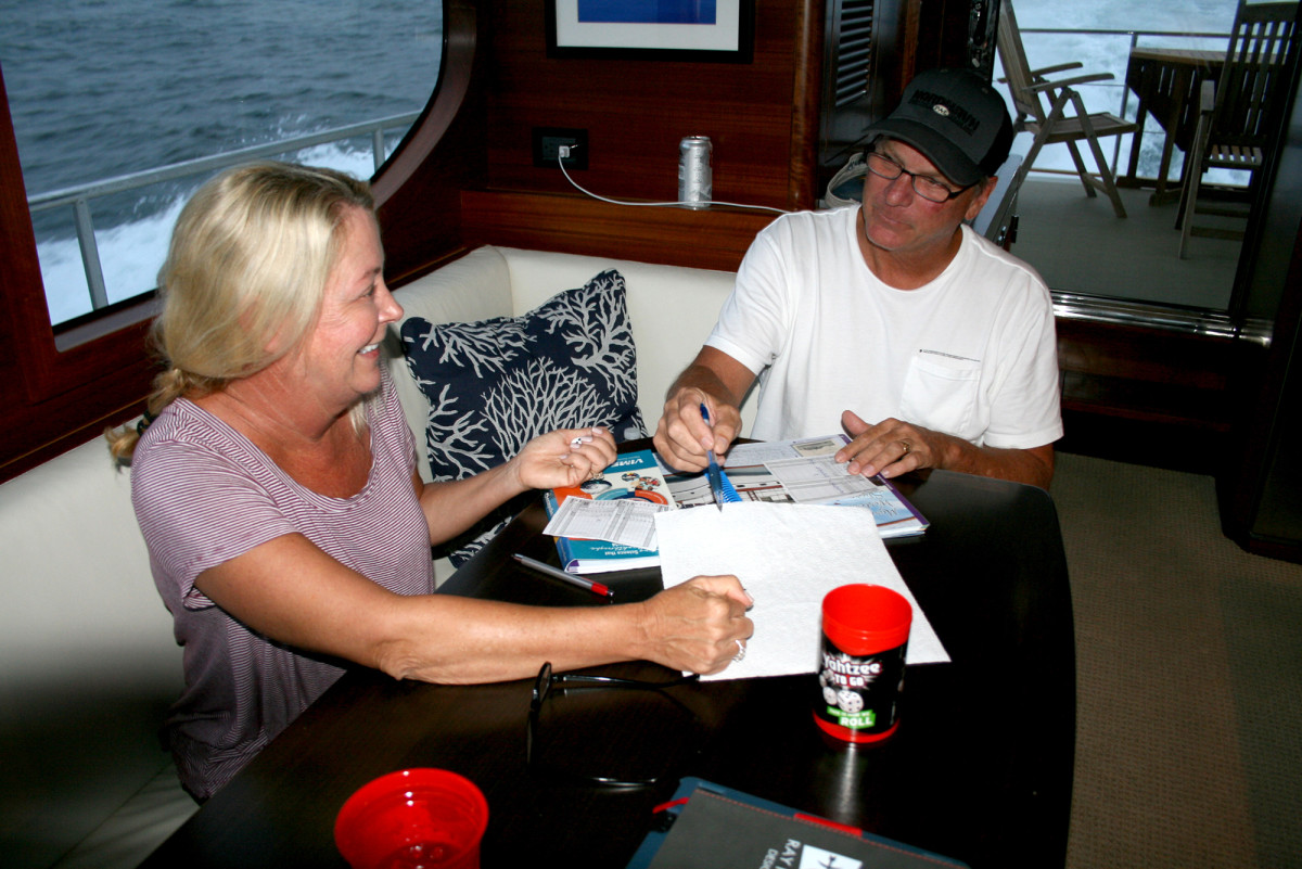 Just south of the Big Apple, Nancy and Jeff crack open  a cruising guide and do a little sparring over the finer points of passagemaking.