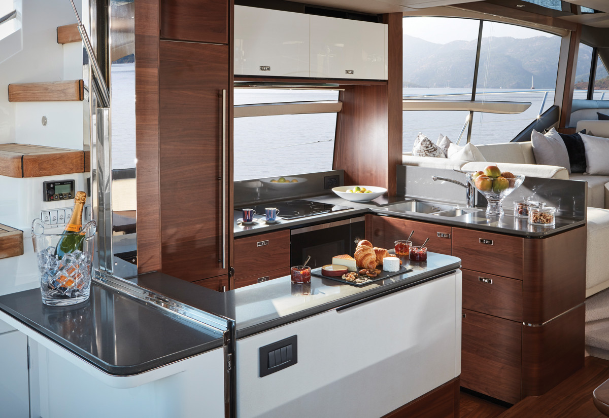 In this configuration, the aft galley is a lesson in modern design done right.
