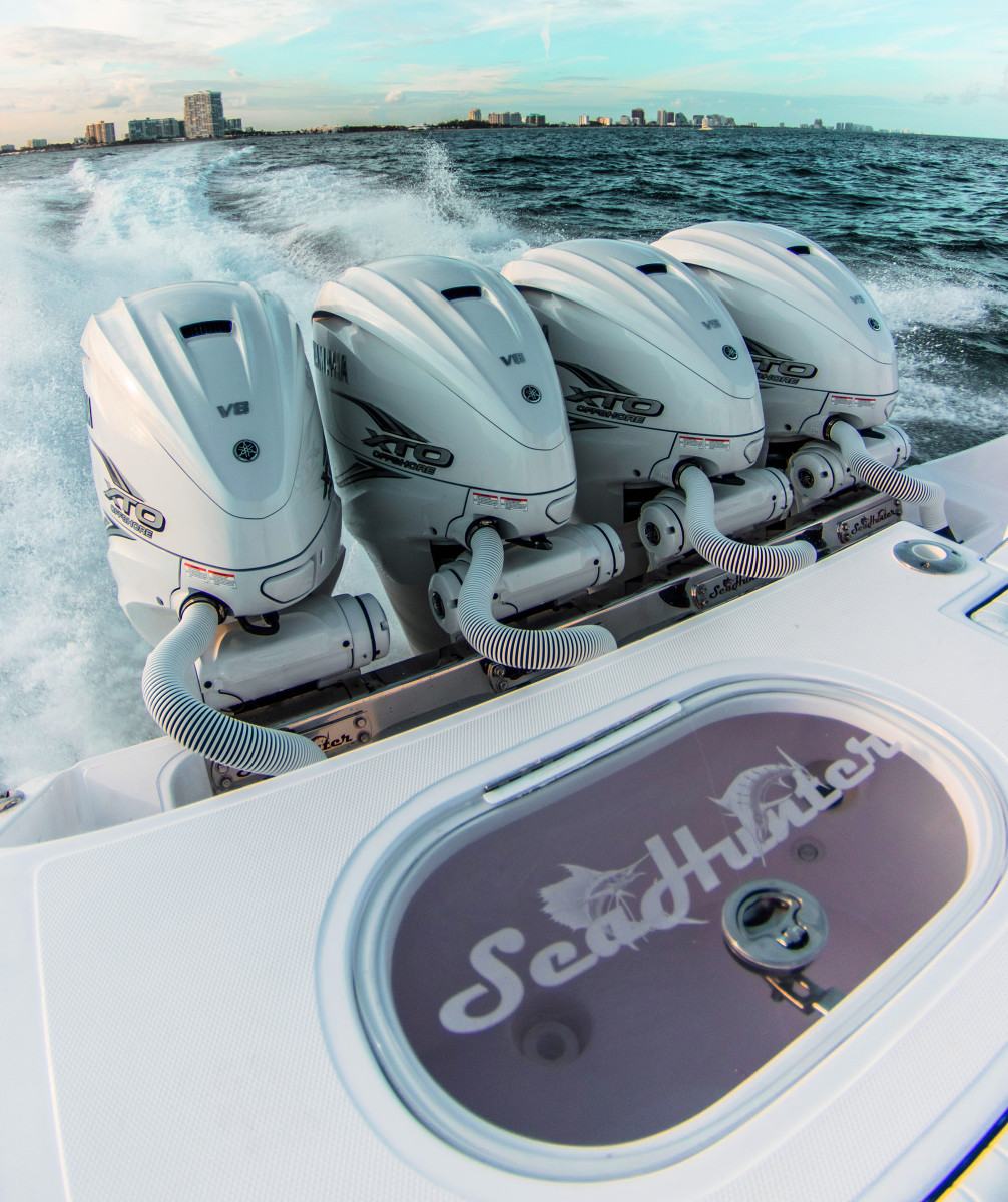 Quad 425-hp Yamaha XTOs pushed the SeaHunter 45 to a top speed of 60 knots.