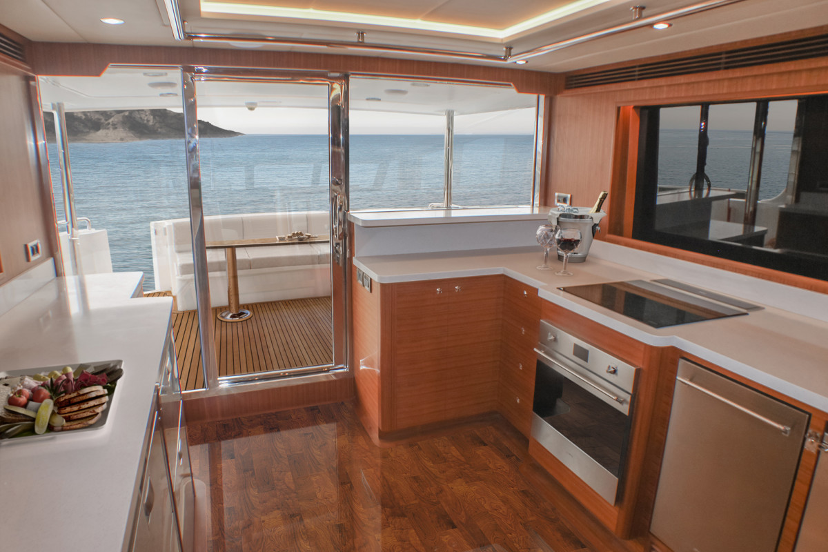 Outer Reef 640 Classic Azure Galley view aft
