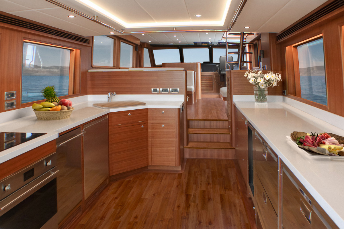Outer Reef 640 Classic Azure Galley view forward