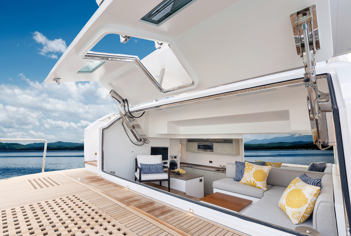 Incredibly, the fully equipped aft beach club is larger than its (bigger) sistership, the FD87.