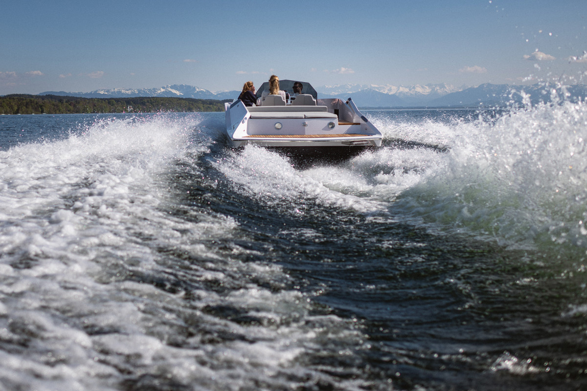 The Frauscher 740 is available with conventional inboard combustion power or with an all-electric system.