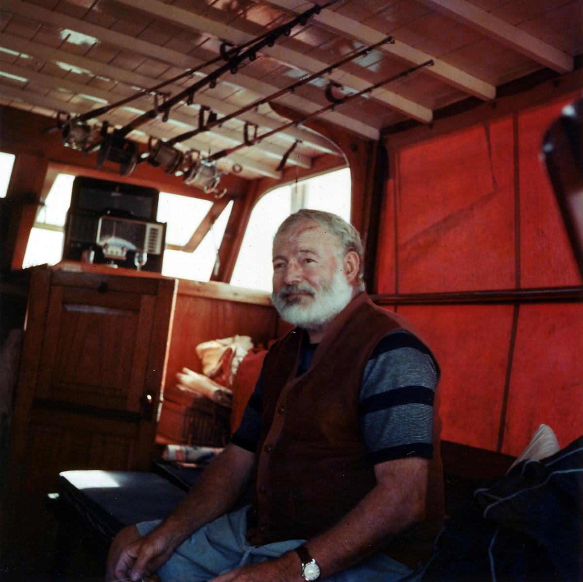 Hemingway on Pilar circa 1950