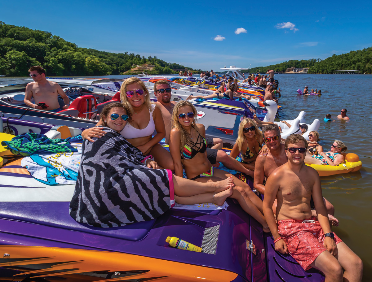"Whether rafting up or crowding around the lakeside bars, the rendezvous gives new meaning to the term, ""fun run."""