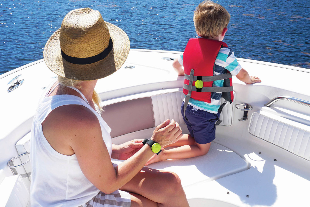 ACR's OLAS man overboard device is easily attached to folks of all ages, and pets.