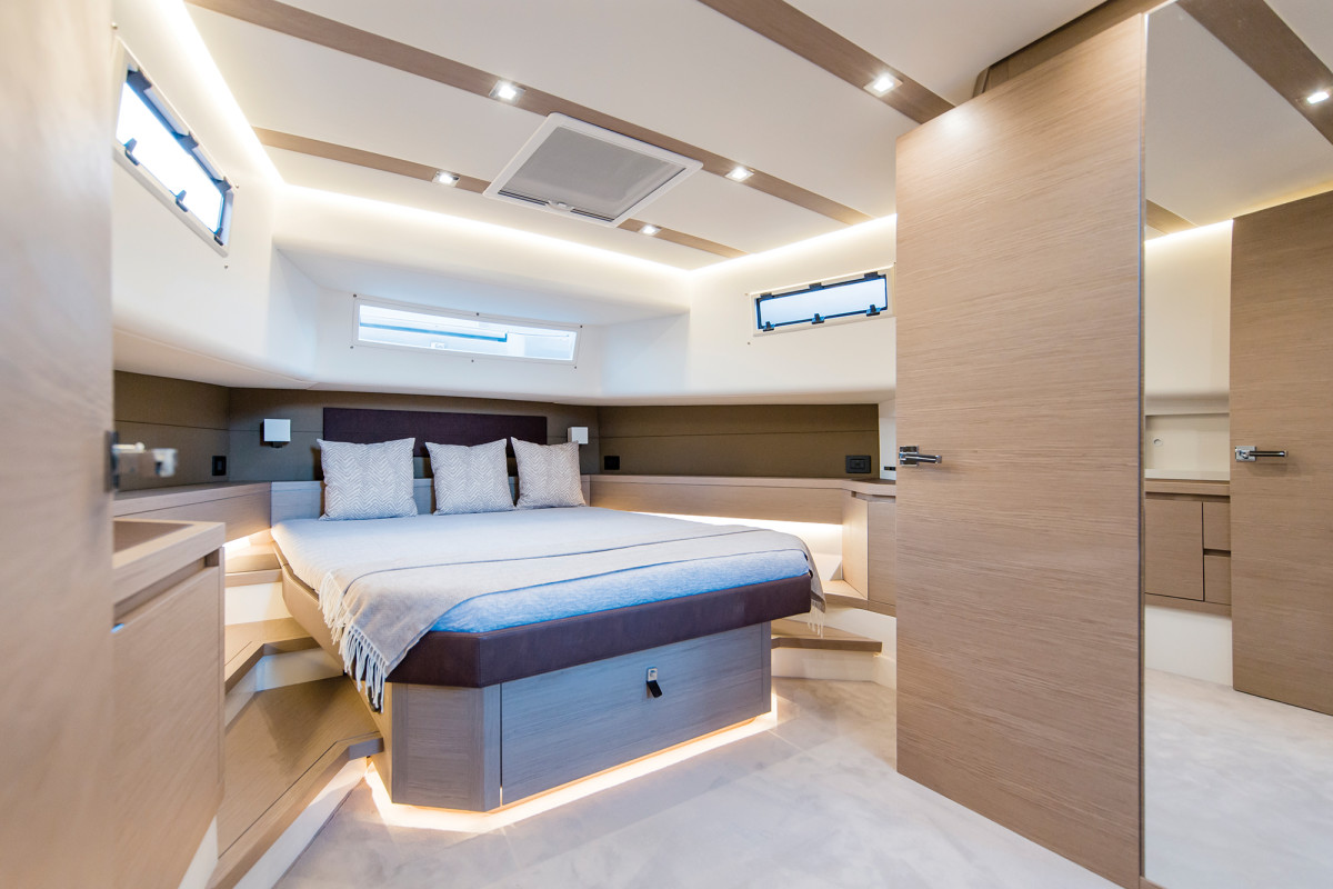 Headroom belowdeck is impressive—over 8 feet in the companionway and 6 feet, 2 inches in the master stateroom.