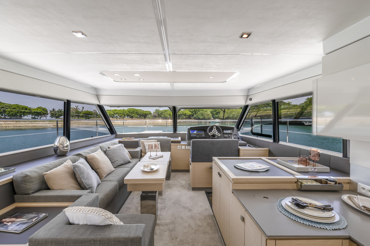 Though the flybridge helm is where most will enjoy running the 40, the lower helm's sightlines are excellent and there's plenty of room for guests.