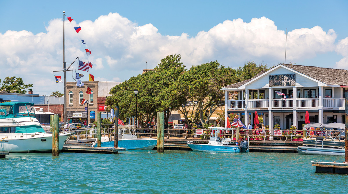 Beaufort's charming waterfront hosts tourists, commercial shrimping outfits and two prominent boatbuilders.