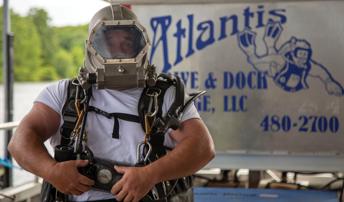 "Tim McNitt only uses his heavy diving gear—or ""hard-hat equipment""—on occasion, such as when cutting things underwater with a 10,000-degree torch."