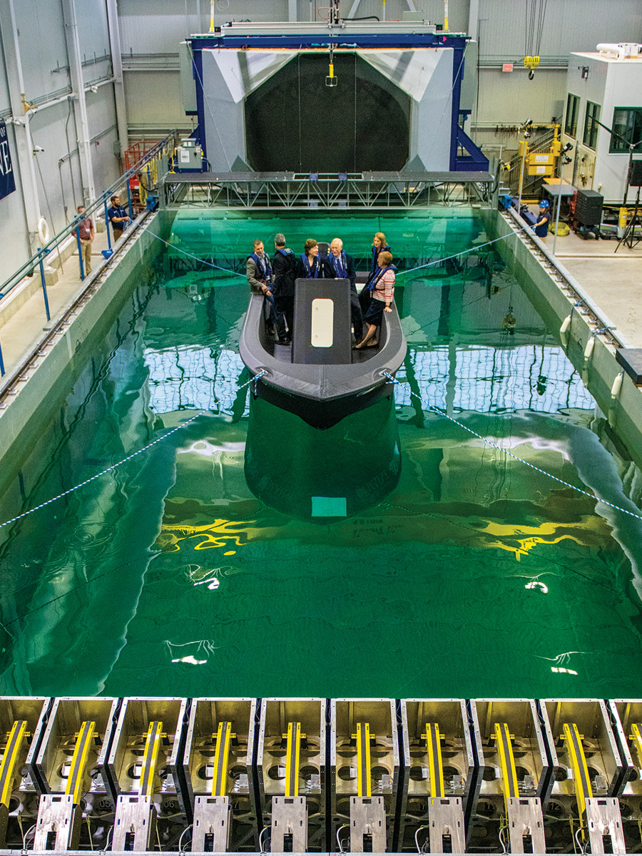 The 25-foot patrol boat was the centerpiece of the 3D printer unveiling.