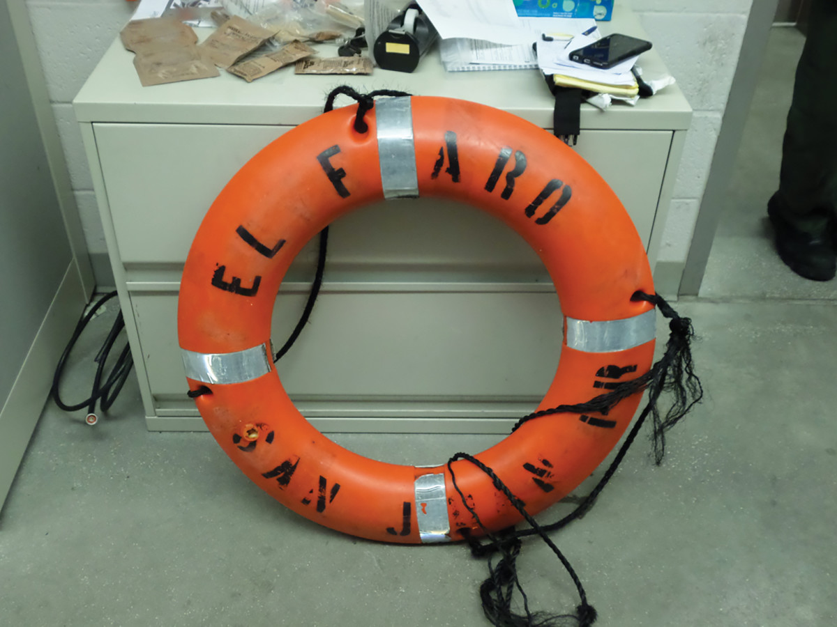 A life ring from the El Faro found after the storm