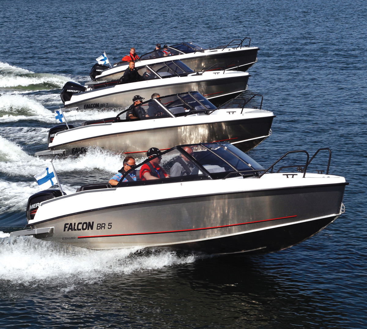 Falcon's line of bowriders typify Finland's family-friendly aluminum boat builders.
