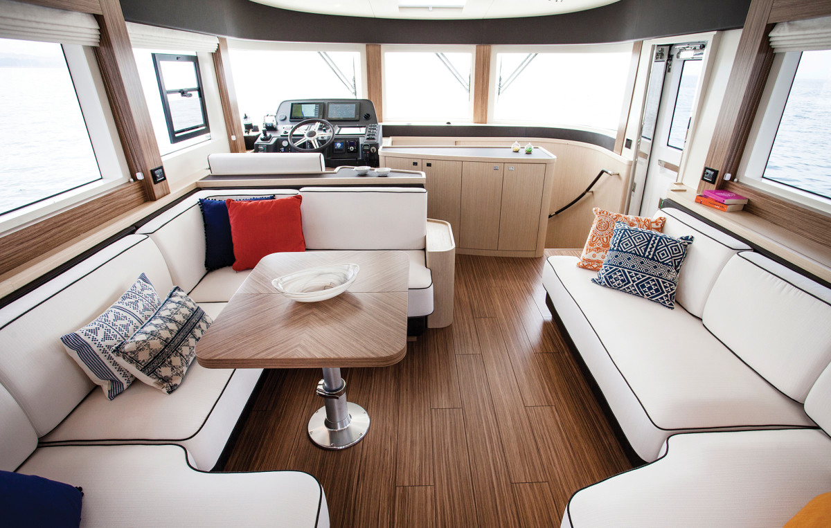 The interior of the 58 blends multiple genres of boat.