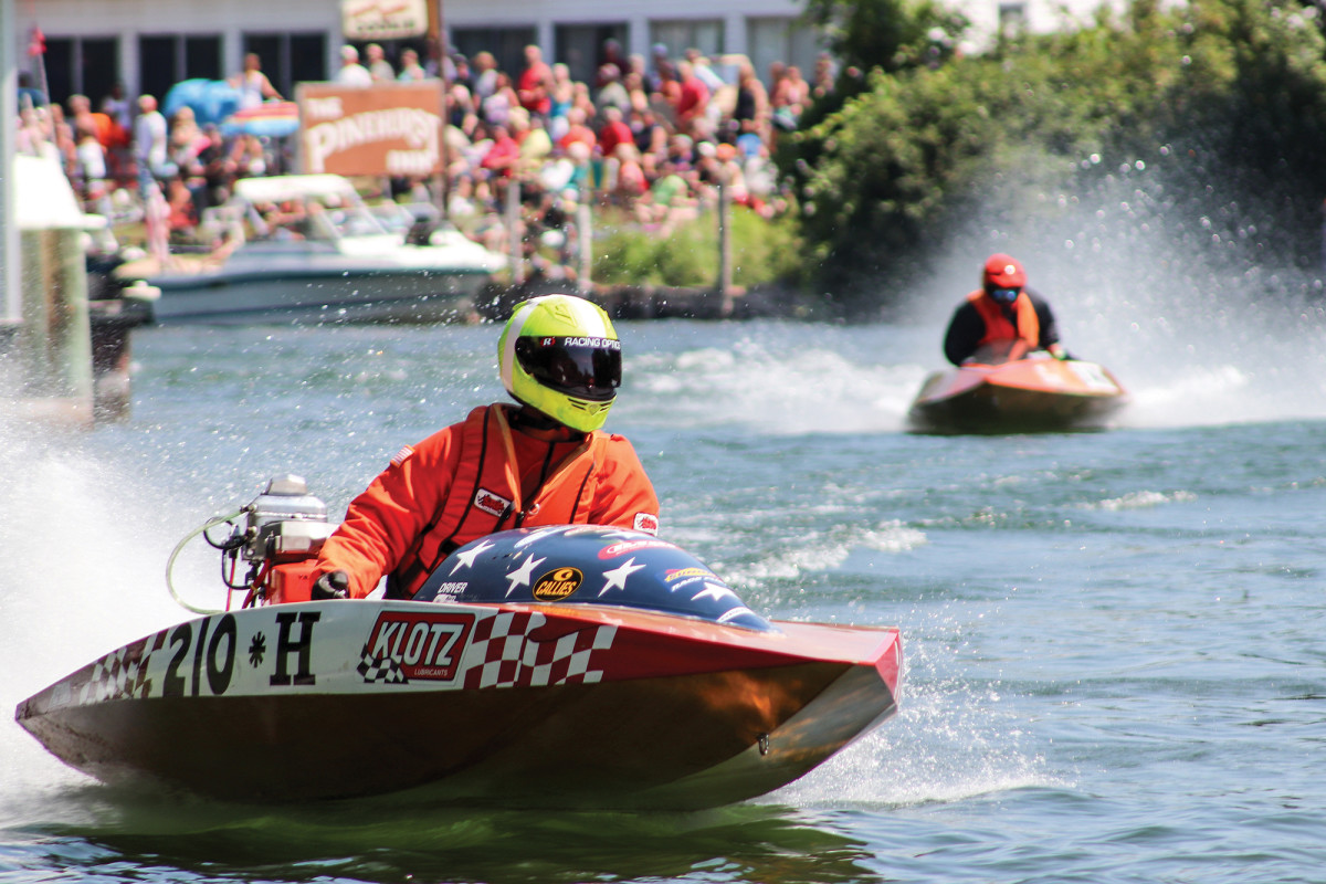 Drivers open up the old two-stroke engines on the course's rivers, clearing 60 mph as they race between stumps, cattails and the wake of other racers.