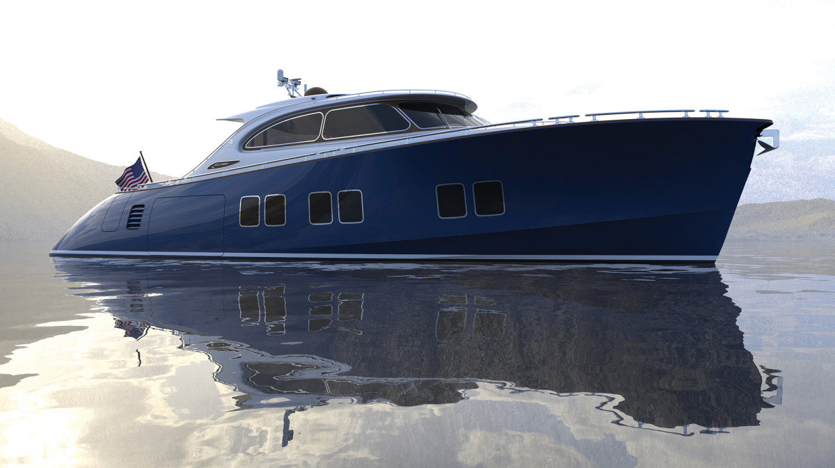 An aggressive profile is softened with a graceful sheer and three sets of large hullside windows. Note the tender garage hatch, capable of housing a Williams tender and a PWC when extended to full beam.