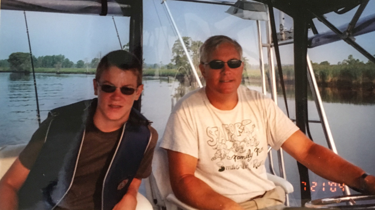 The author and his father at the helm of the family Egg Harbor on a once-in-a-lifetime trip to the Bahamas.