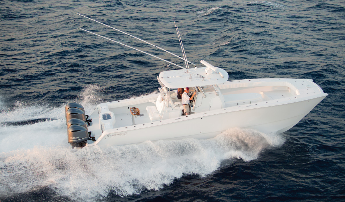 An overhead shot of the Freeman 37 shows off the roomy, uncluttered cockpit.
