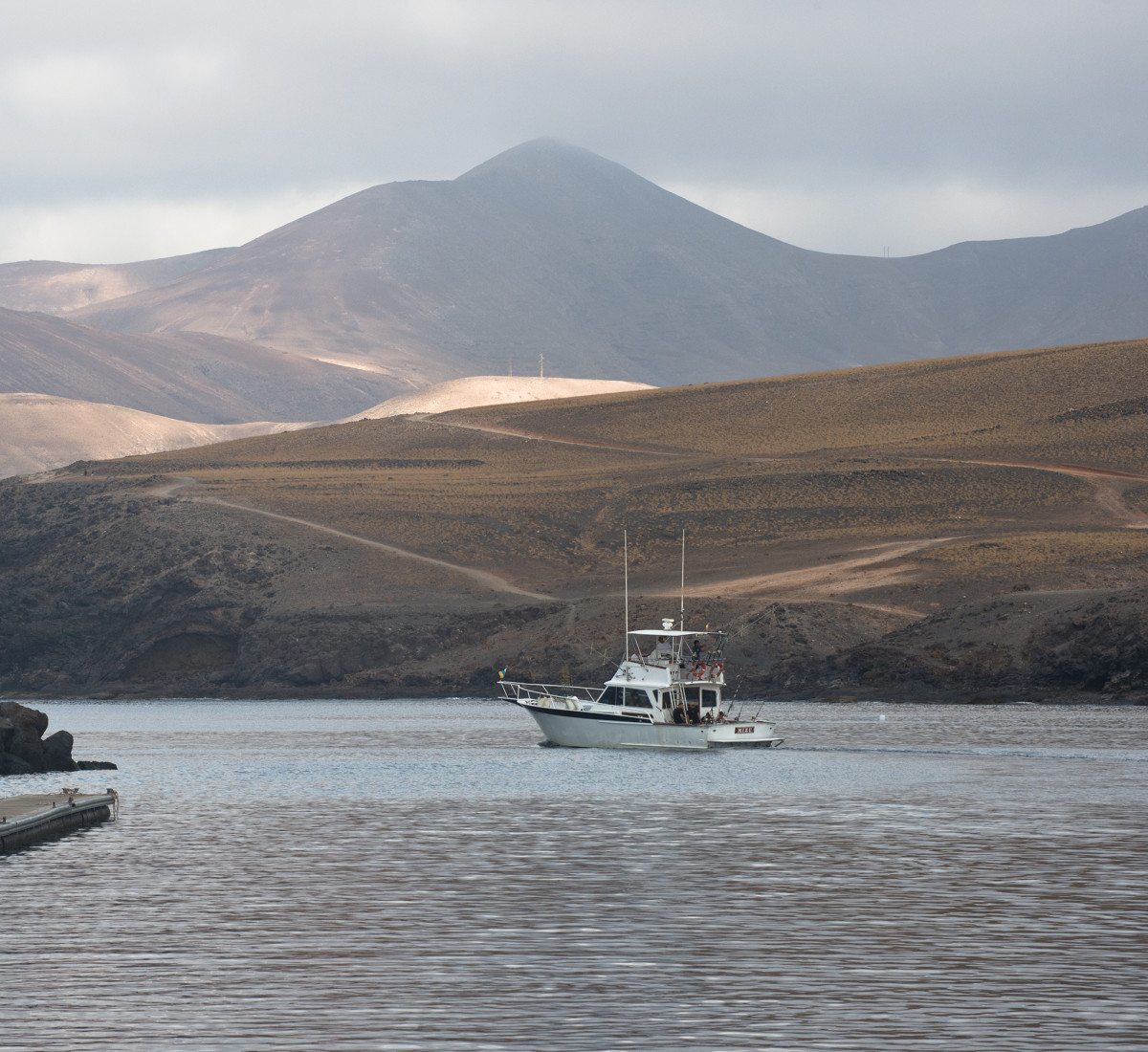The local Lanzarote charter boat heads out of the Calero Marina early one morning.