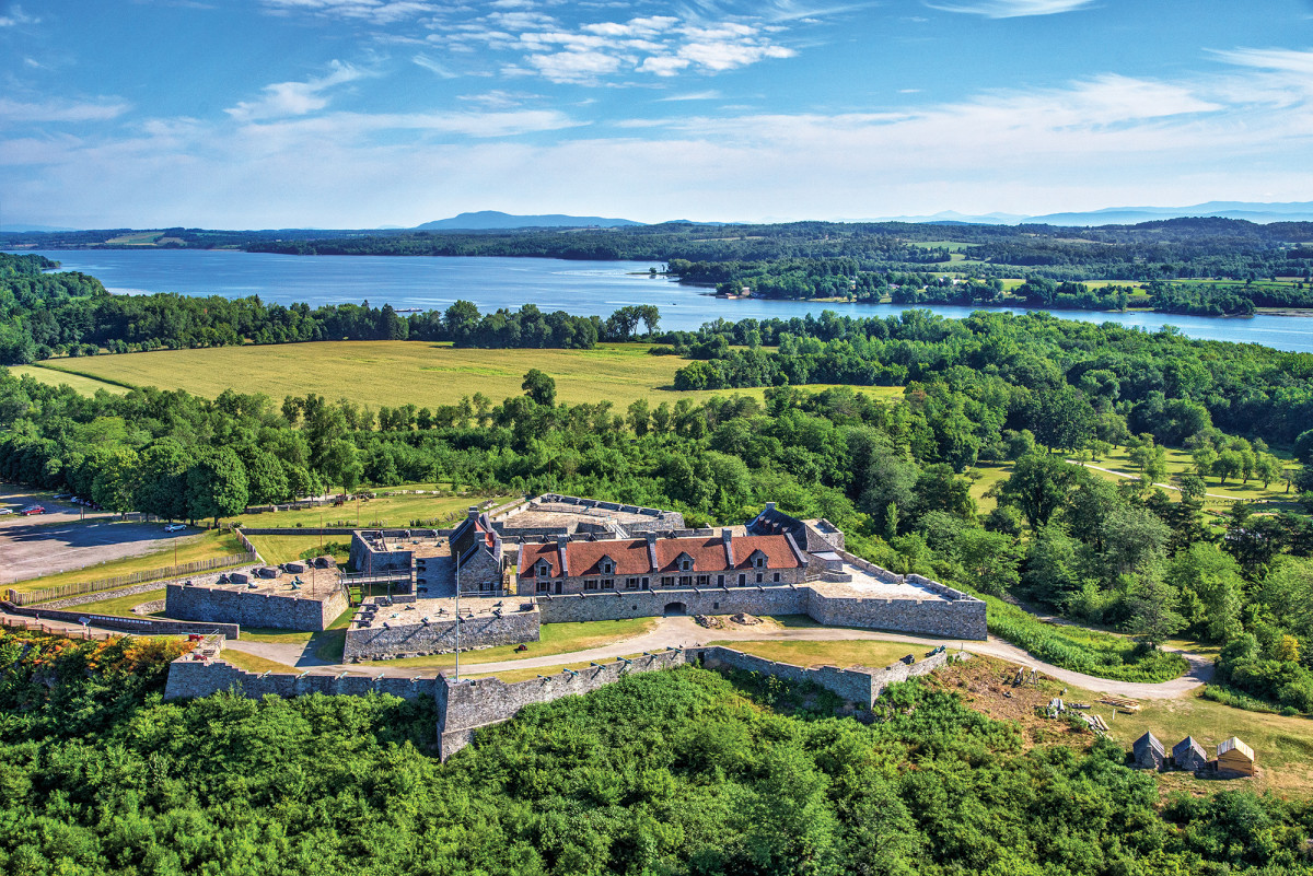 Located at the southern tip of Lake Champlain, Fort Ticonderoga offers panoramic vistas of New York's Adirondack and Vermont's Green Mountains.