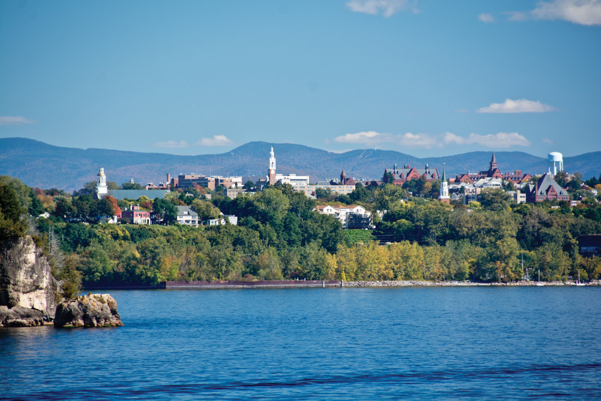 Lake Champlain is bustling with activity during the summer months, with concerts and festivals along Burlington's waterfront.
