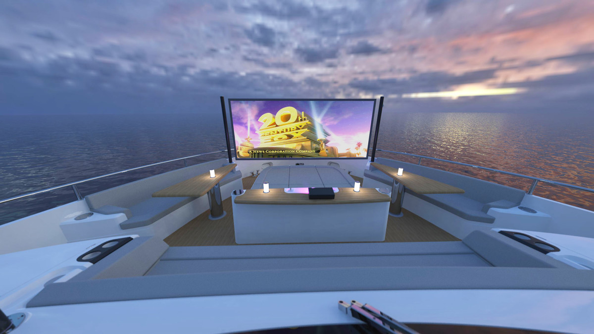 140-inch movie screen on the foredeck of Sunseeker's Project 8X