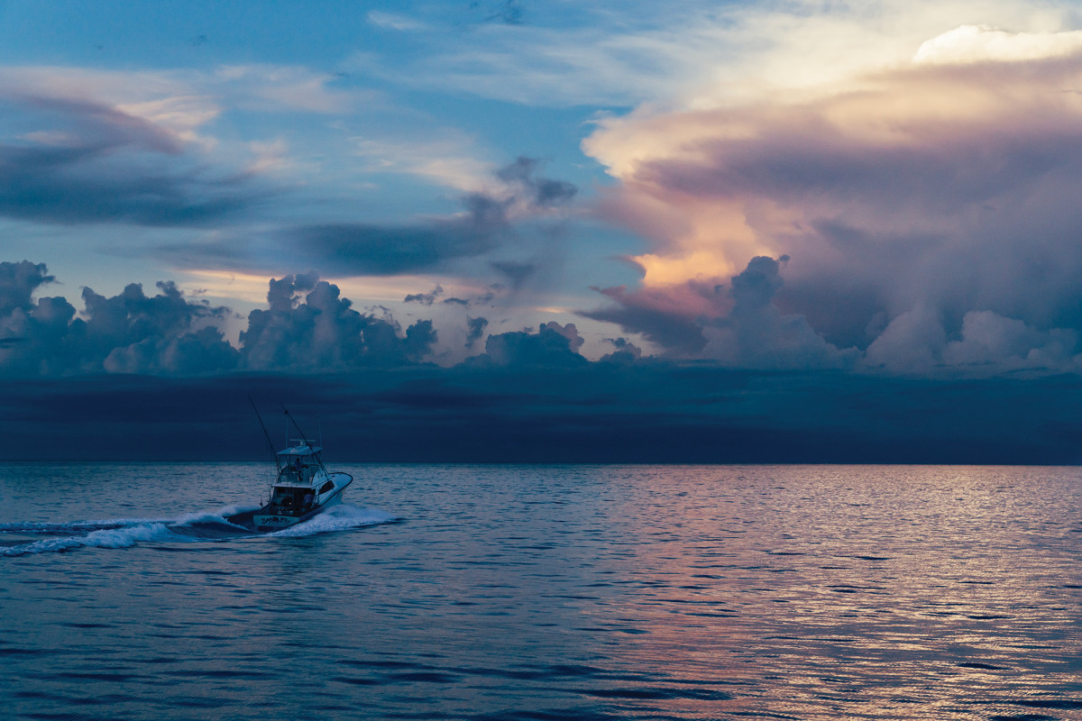 The crew heads for home aboard the 42-foot Maverick sportfisherman Sea Fly.