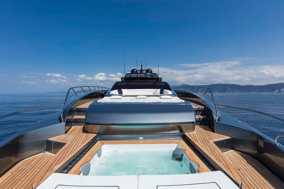 The foredeck and its hideaway Jacuzzi.