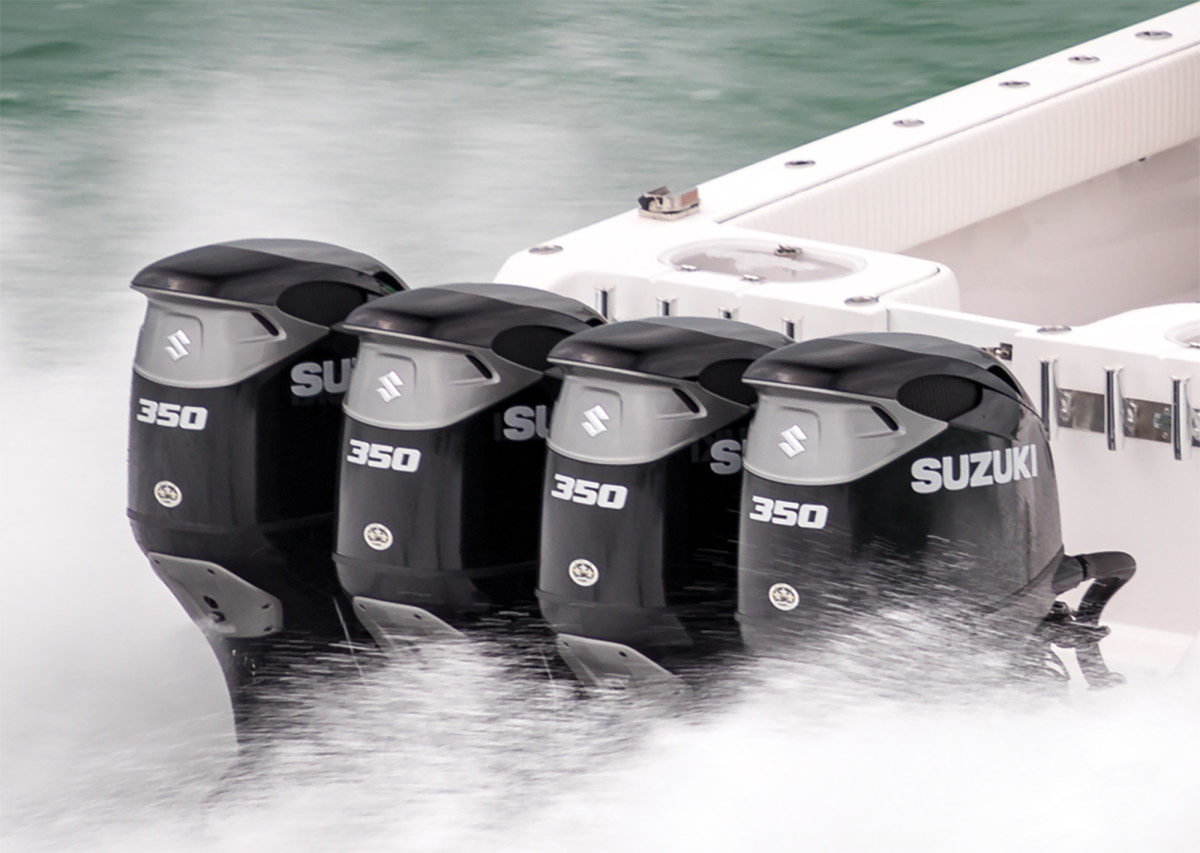 "Suzuki's DF350A uses twin ""contra-rotating"" propellers to improve maneuverability on big boats."