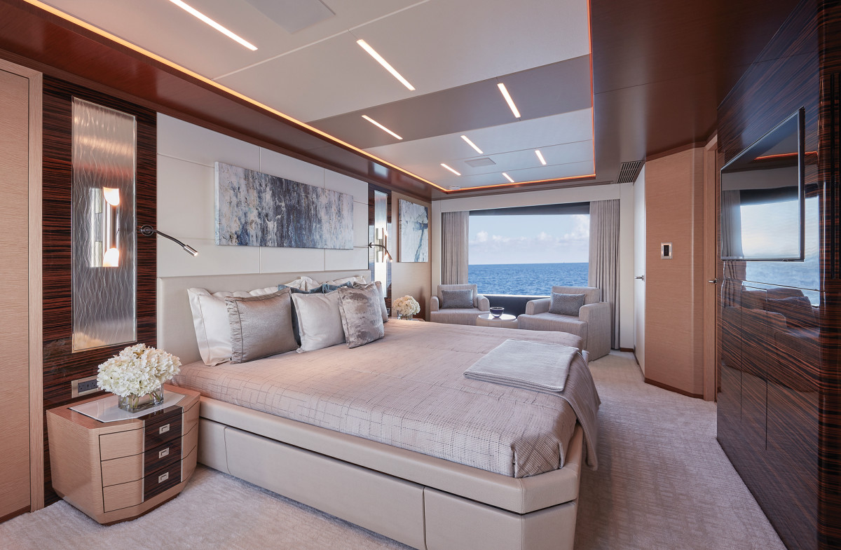 A full-beam master stateroom could double as a salon on another yacht.