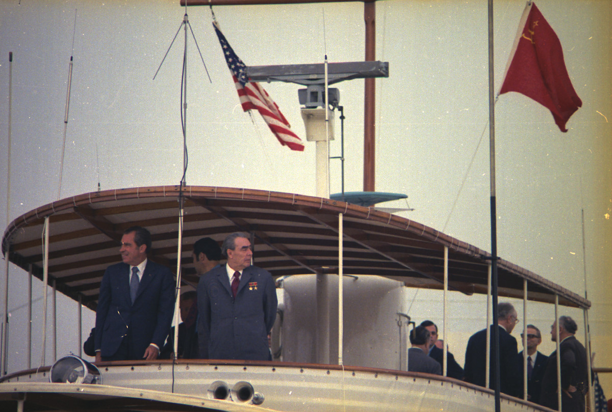 Nixon hosted Soviet leader Leonid Brezhnev aboard Sequoia during the 1973 nuclear arms treaty talks.