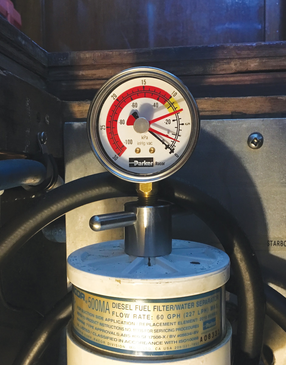 Vacuum gauge: The black needle indicates vacuum and the red max pressure. Thick red? Changeout.