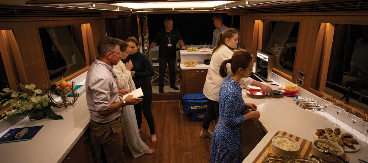 Like any galley worth its salt, the 640 Azure's galley encourages people to gather.