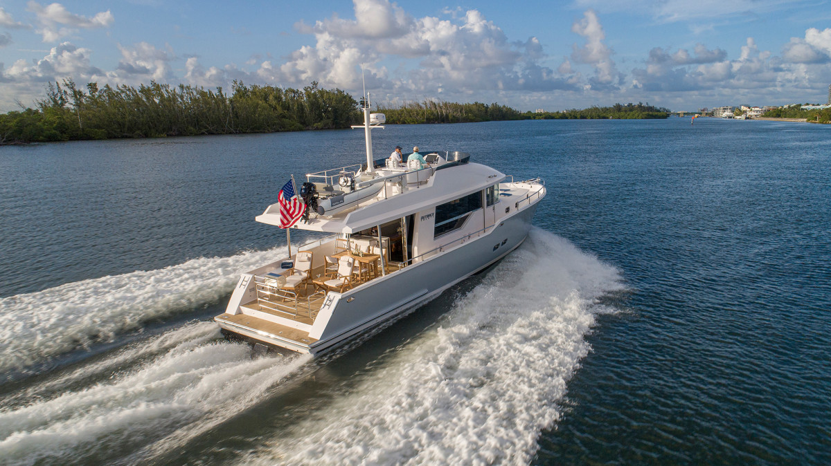 The Outback was named for its generous infinity deck, which has space to hold a tender, deck lounges and a table with chairs for dining.