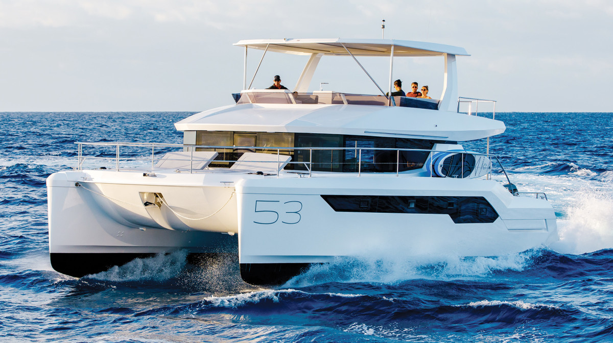 Designed to appeal to monohull and powercat owners alike, the 53 proved its seakeeping abilities in a choppy Gulf Stream crossing.