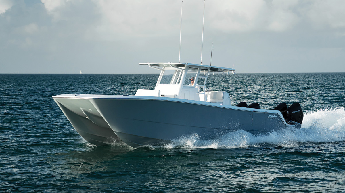 Invincible Boats uses an asymmetrical hull shape so the boat leans into a turn and drives more like a traditional monohull.