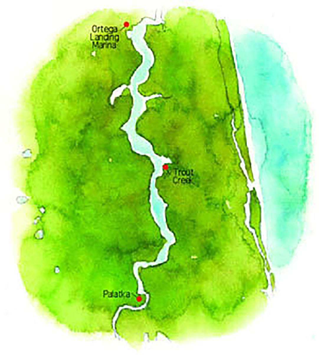 A map of the St. Johns River, showing our three stops.