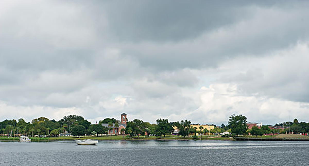 The marina at Palatka was gray and calm during our visit.