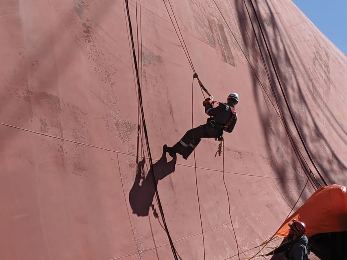 """Sylvia comes down from """"the high side"""" of the Golden Ray's overturned bottom. Her resume includes the ability to quickly climb and rappel."""