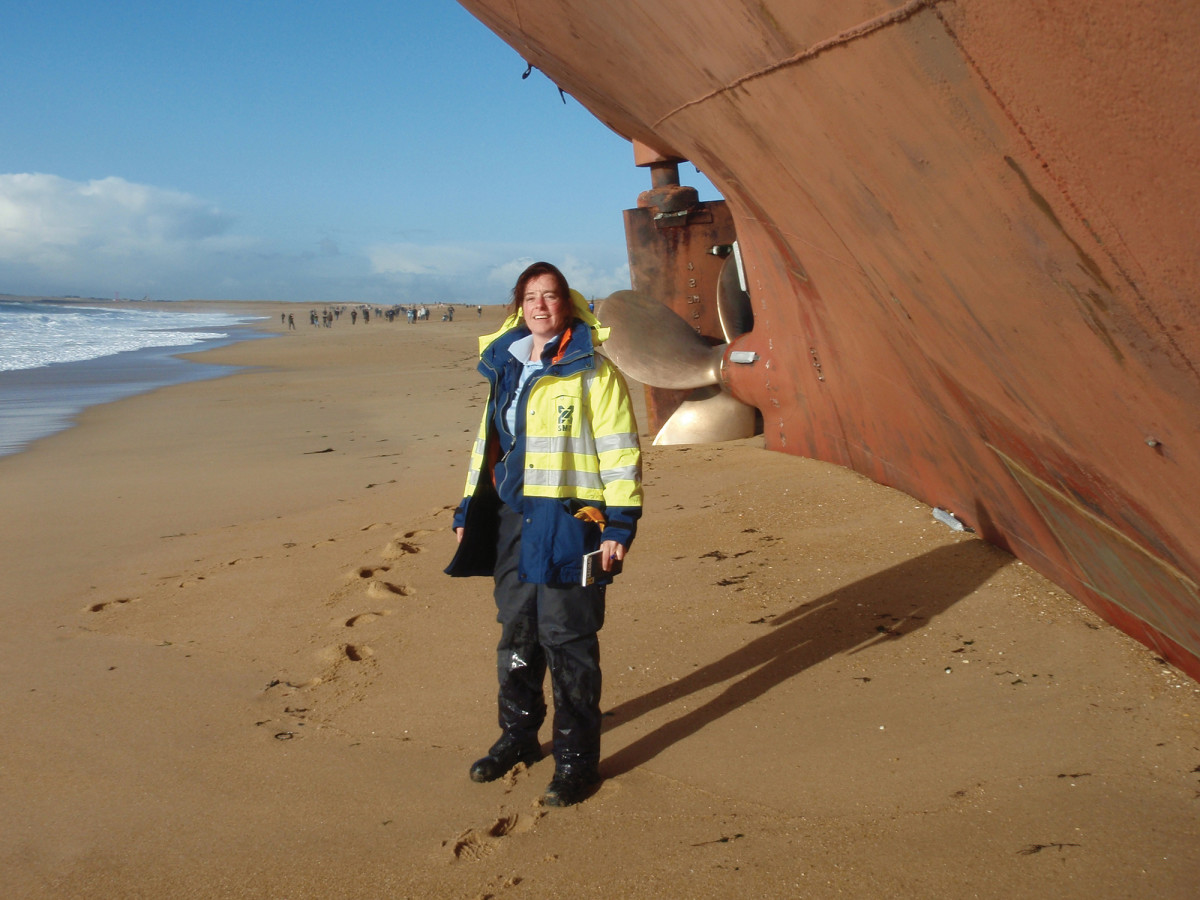 An Atlantic storm drove this cargo ship ashore upon the coast of France. There were 220 tons of fuel oil on board which immediately began leaking. The beach shown here fronts a nature preserve. The ship was emptied, cut up and removed in a month at a cost of approximately $13 million.