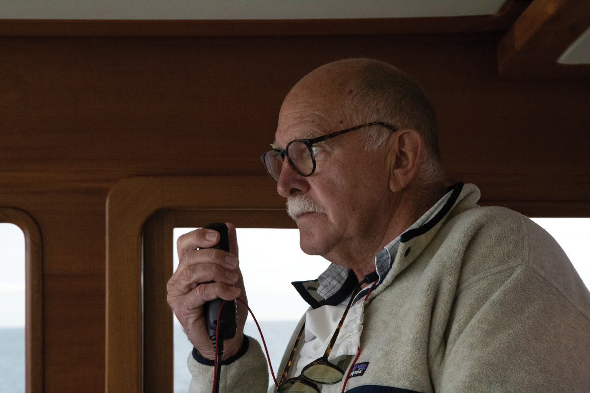 The intrepid yacht consultant Ed Roberts at the helm of the 54.
